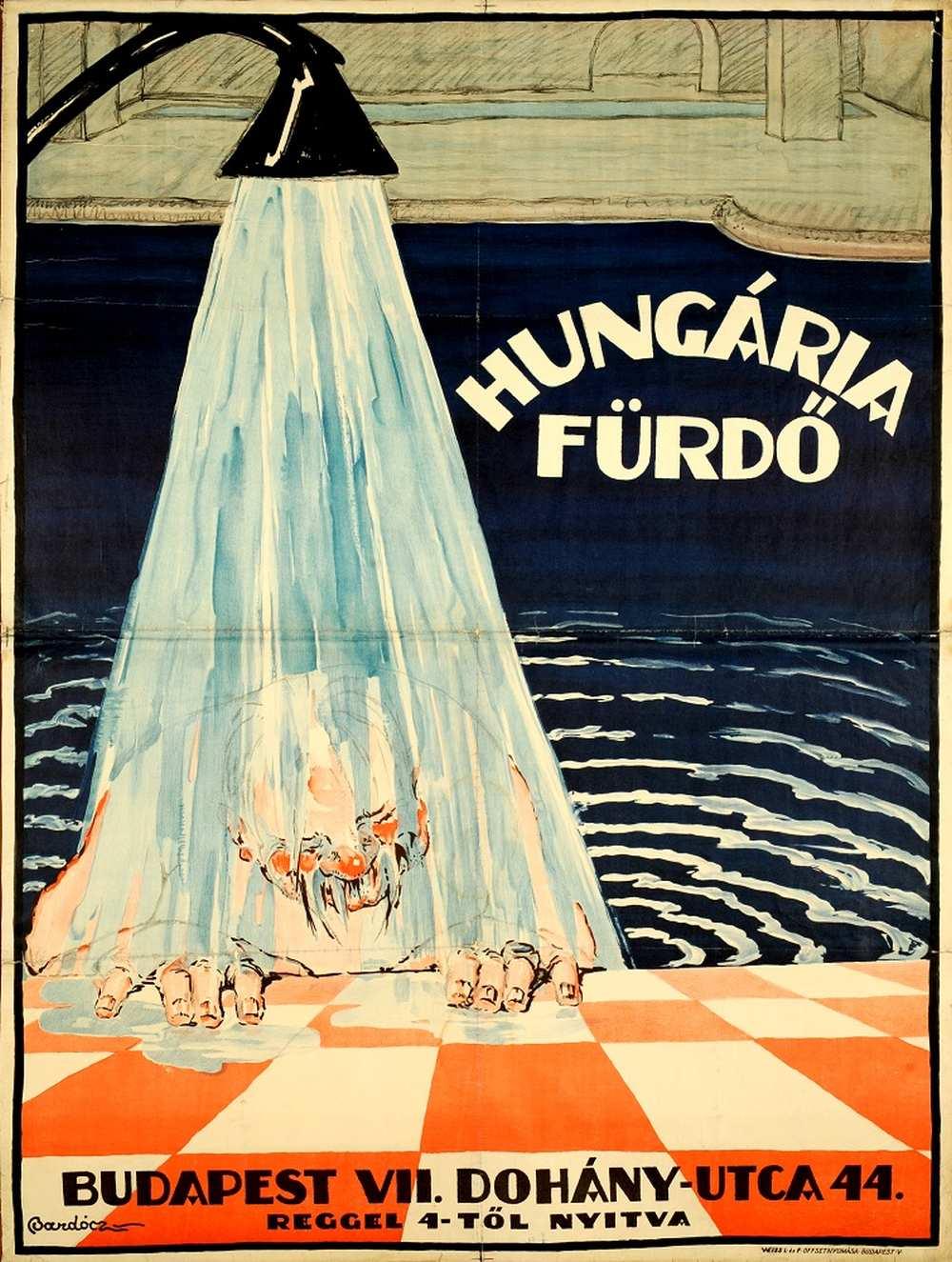 Bardócz Árpád: Hungária Fürdő (1923) – Térkép-, Plakát- és Kisnyomtatványtár. Jelzet: PKG.én/270 http://nektar.oszk.hu/hu/manifestation/2769533