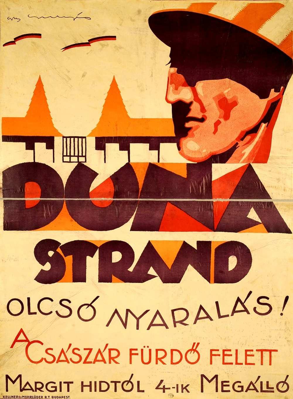 Padányi-Gulyás Jenő: Duna strand olcsó nyaralás! (1927). Jelzet: PKG.én/333 – Térkép-, Plakát- és Kisnyomtatványtár http://nektar.oszk.hu/hu/manifestation/2770079
