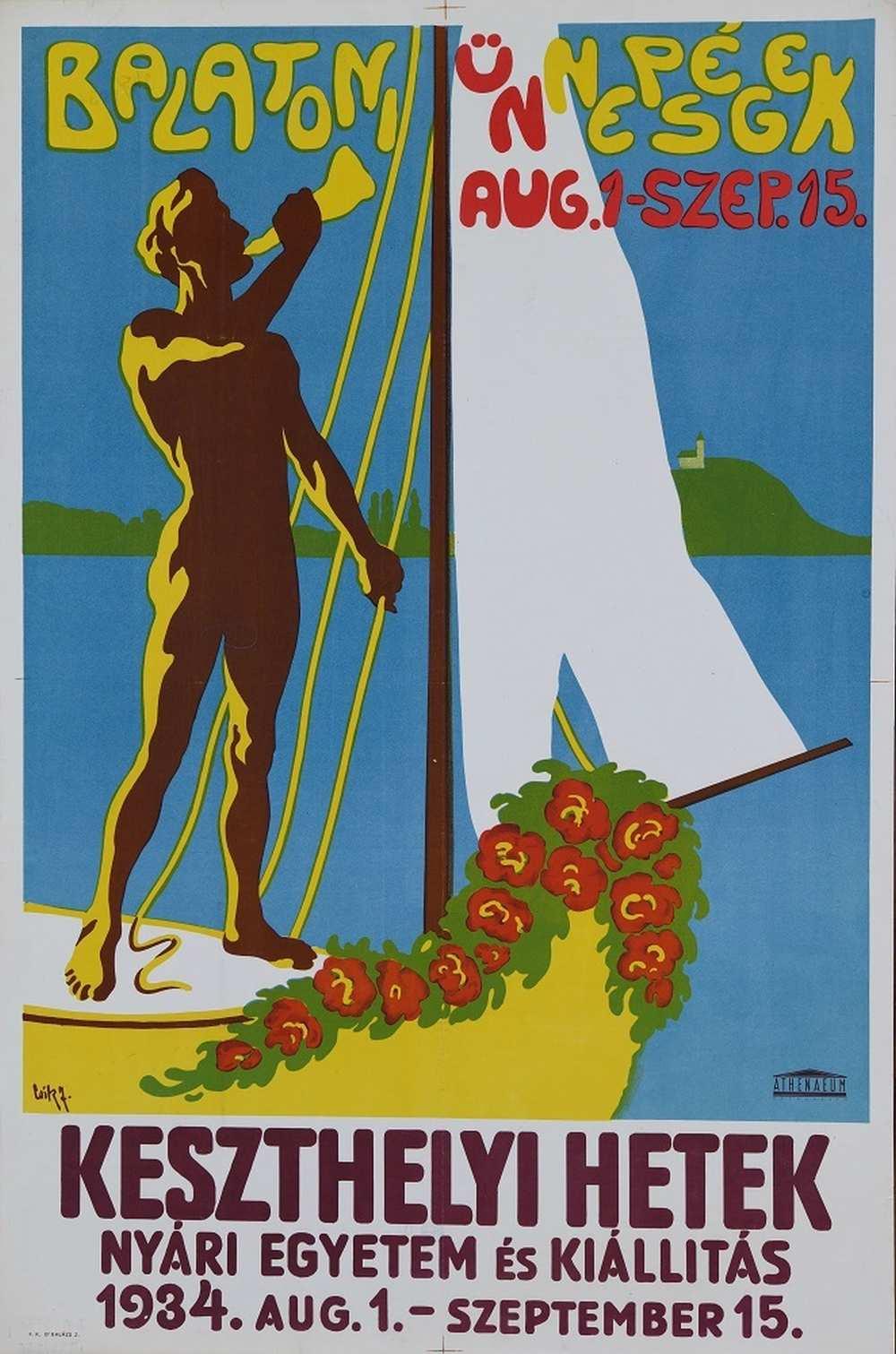 Csík J.: Balatoni ünnepségek… (1934). Jelzet: PKG.1934/245 – Térkép-, Plakát- és Kisnyomtatványtár http://nektar.oszk.hu/hu/manifestation/2800820
