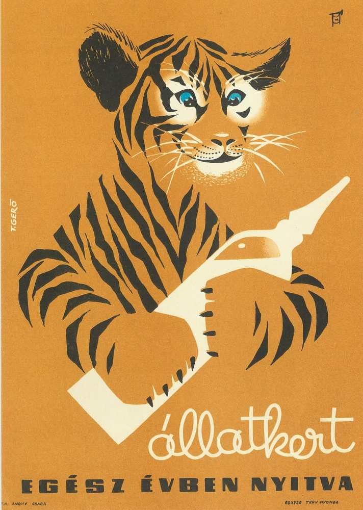 Állatkert. Plakát. Grafikus: Gerő T. – Térkép-, Plakát- és Kisnyomtatványtár. Jelzet: PKG.1962/364