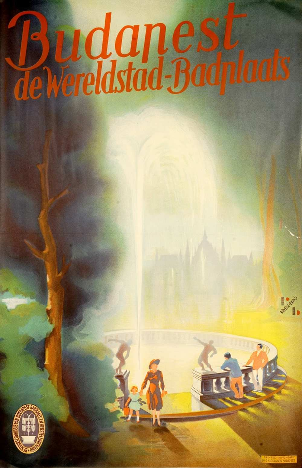 Révész Imre-Bíró Irma: Budapest de Wereldstad-Baderplaats (1932). Jelzet: PKG.én/60 – Térkép-, Plakát- és Kisnyomtatványtár http://nektar.oszk.hu/hu/manifestation/2768678