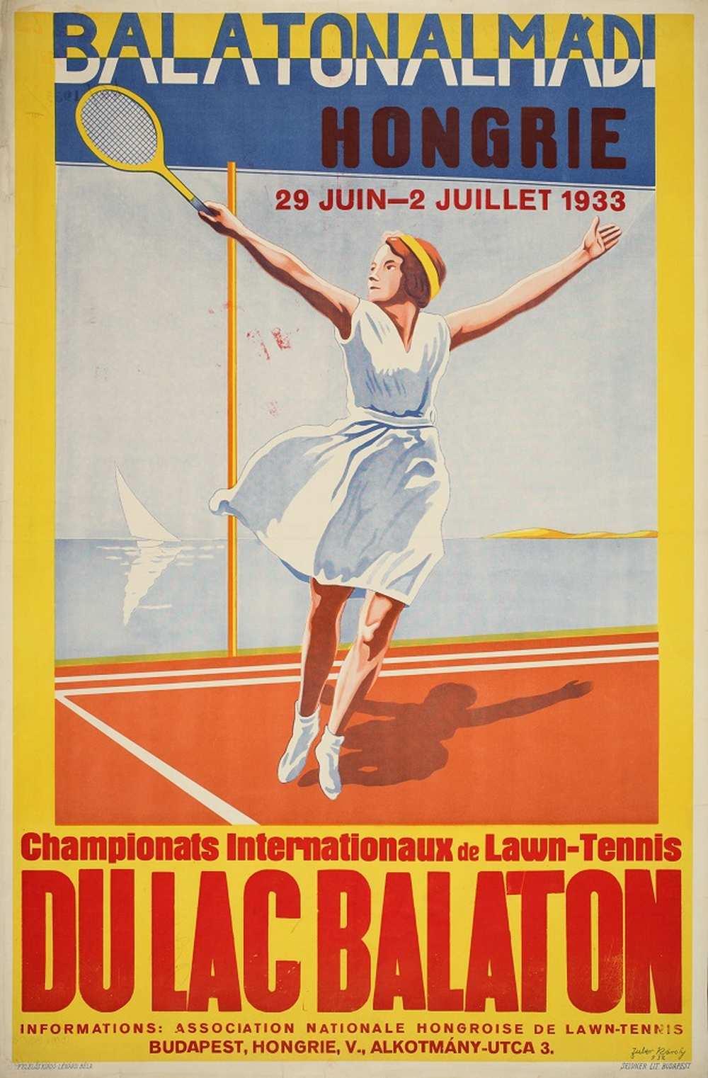 Zuber Károly: Balatonalmádi Campionats Internationaux de Lawn-Tennis (1933). Jelzet: PKG.1933/46 – Térkép-, Plakát- és Kisnyomtatványtár http://nektar.oszk.hu/hu/manifestation/2789891