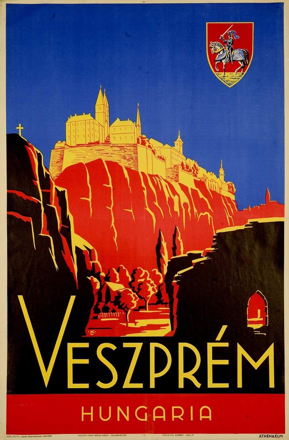 Keipert László: Veszprém Hungaria (1936). Jelzet: PKG.én/65 – Térkép-, Plakát- és Kisnyomtatványtár http://nektar.oszk.hu/hu/manifestation/2768692