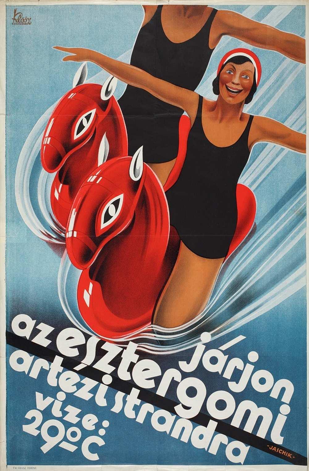Jaschik Álmos: Járjon az esztergomi artézi strandra (1931) – Térkép-, Plakát- és Kisnyomtatványtár. Jelzet: PKG.1931/227 http://nektar.oszk.hu/hu/manifestation/2800022