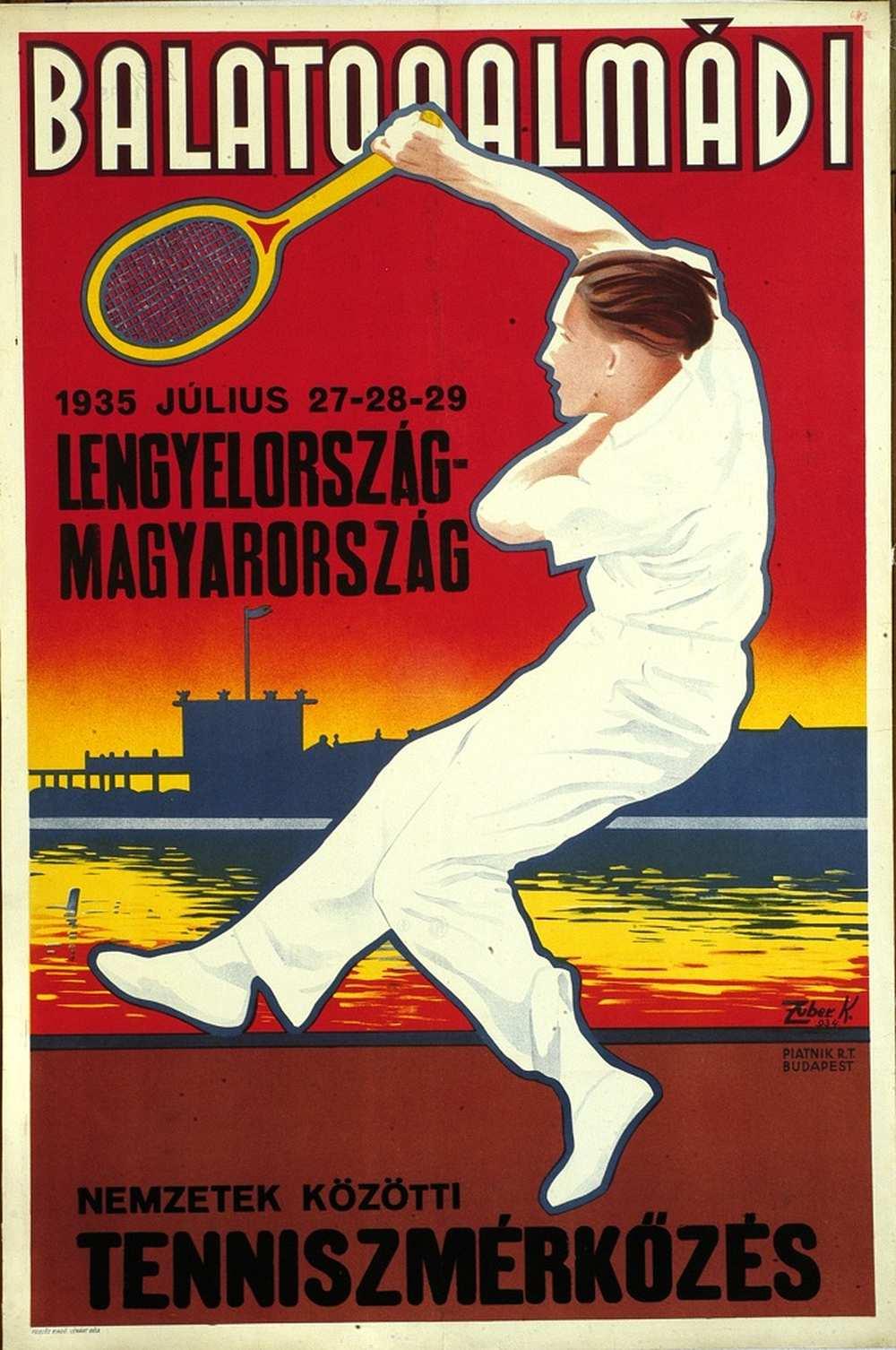 Zuber Károly: Nemzetek közötti teniszmérkőzés Lengyelország – Magyarország (1935). Jelzet: PKG.1935/256 – Térkép-, Plakát- és Kisnyomtatványtár http://nektar.oszk.hu/hu/manifestation/2795710