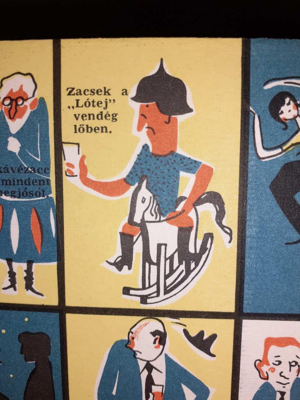 """Zacsek a """"Lótej"""" vendéglőben. Vidám kínpad. Középkori kabaré fiatalok, öregek és középkorúak részére. Rendezte Várady György. Bemutató: Vidám Színpad. 1962. október 23. Aprónyomtatvány részlete – Színháztörténeti és Zeneműtár"""