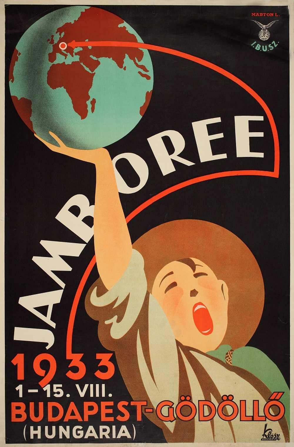Márton Lajos: Jamboree (1933). Jelzet: PKG 1933/54 – Térkép-, Plakát- és Kisnyomtatványtár http://nektar.oszk.hu/hu/manifestation/2789963