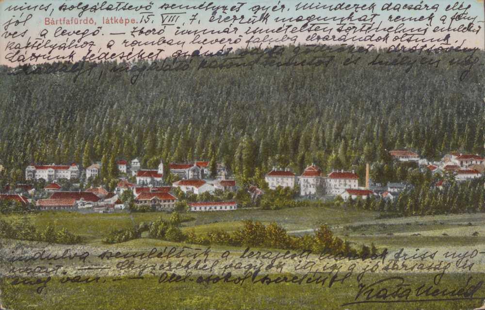Bártfafürdő látképe. Képeslap – Térkép-, Plakát- és Kisnyomtatványtár. Jelzet: B 1890.