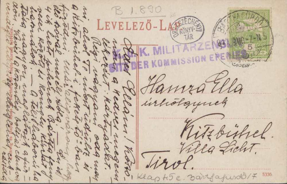 Bártfafürdő látképe. A képeslap hátoldala – Térkép-, Plakát- és Kisnyomtatványtár. Jelzet: B 1890.