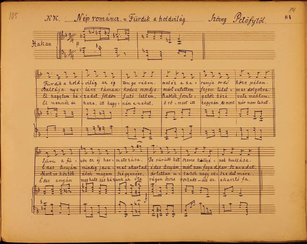 Bognár Ignác (1810–1883): Nép románca (Fürdik a holdvilág…). Ének-zongora. Szerzői kézirat. – Zeneműtár, Ms. mus. 187