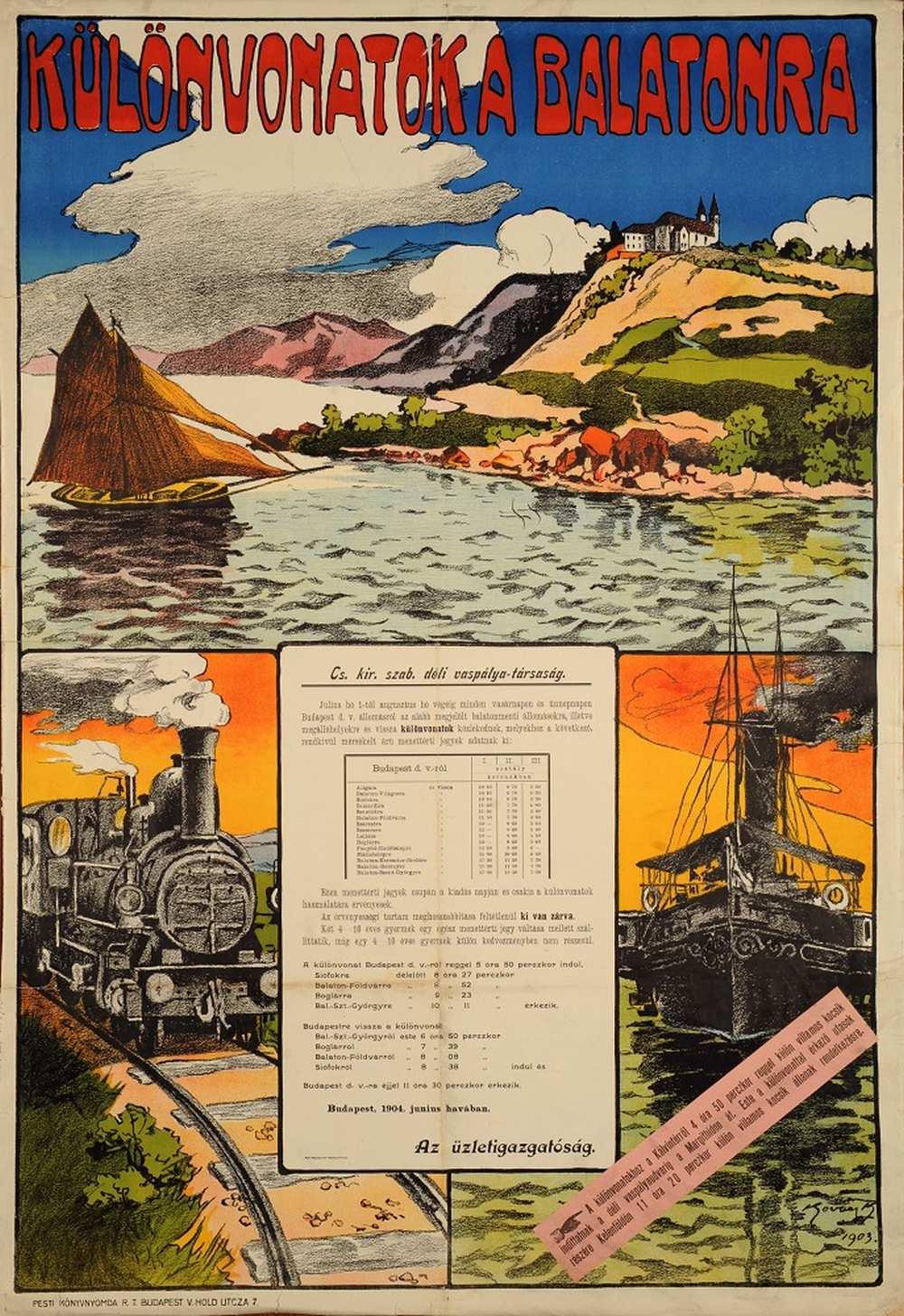 Kovács K.: Különvonatok a Balatonra (1903). Jelzet: PKG.1914e/182 – Térkép-, Plakát- és Kisnyomtatványtár http://nektar.oszk.hu/hu/manifestation/2770857