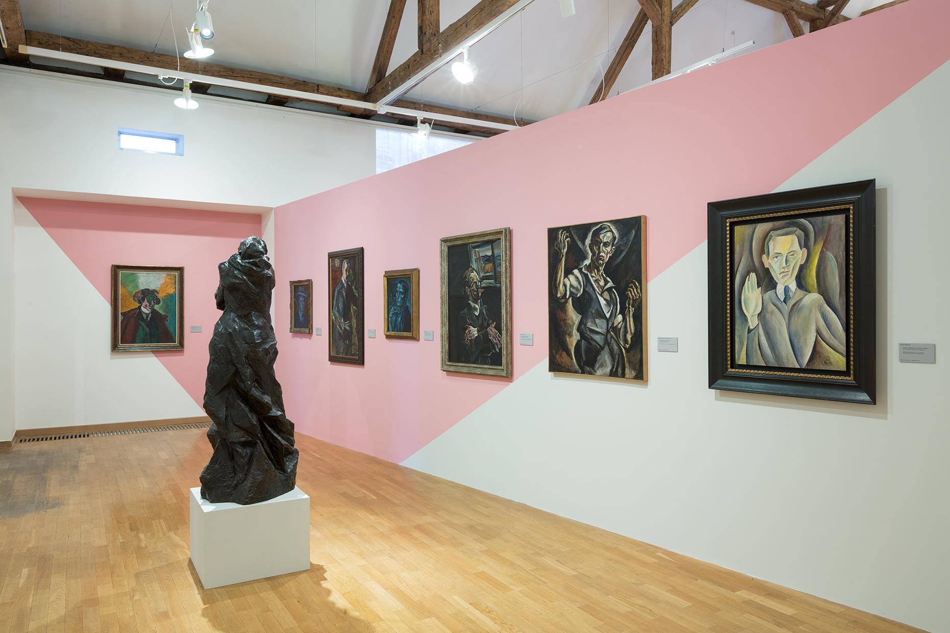 A falakon önarcképek, közöttük jobbról a második Dobrovits Péter, a negyedik Kmetty János műve.