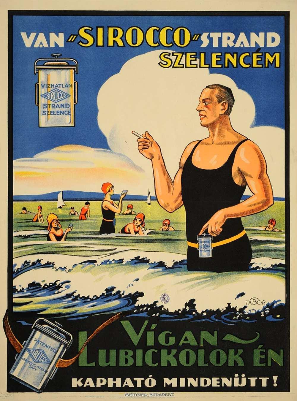 """Tábor János: Van """"Sirocco"""" strandszelencém (1927) – Térkép-, Plakát- és Kisnyomtatványtár. Jelzet: PKG.1927/187 http://nektar.oszk.hu/hu/manifestation/2867734"""