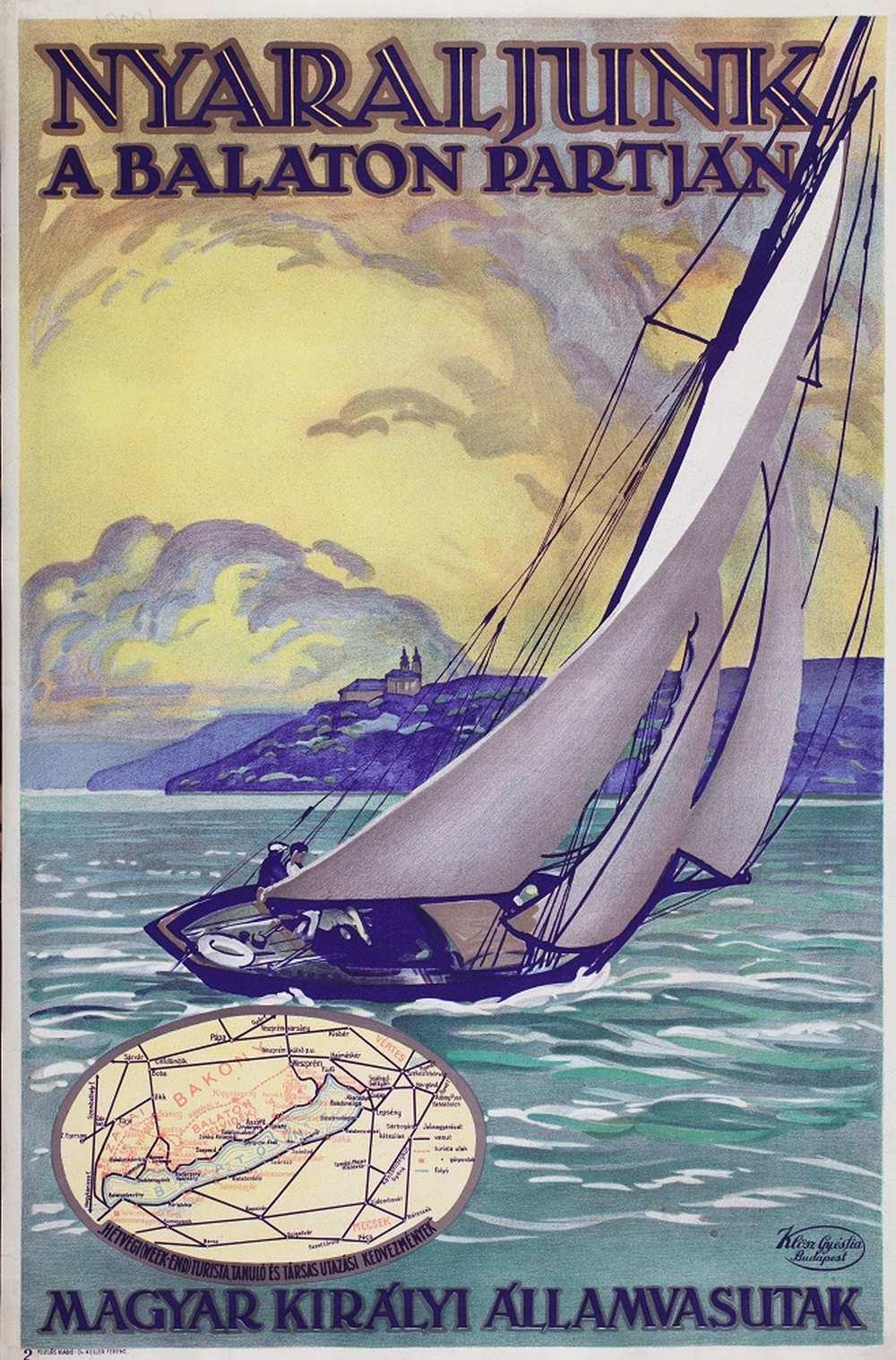 Nyaraljunk a Balaton partján (1929). Jelzet: PKG.1929/243 – Térkép-, Plakát- és Kisnyomtatványtár http://nektar.oszk.hu/hu/manifestation/2790176