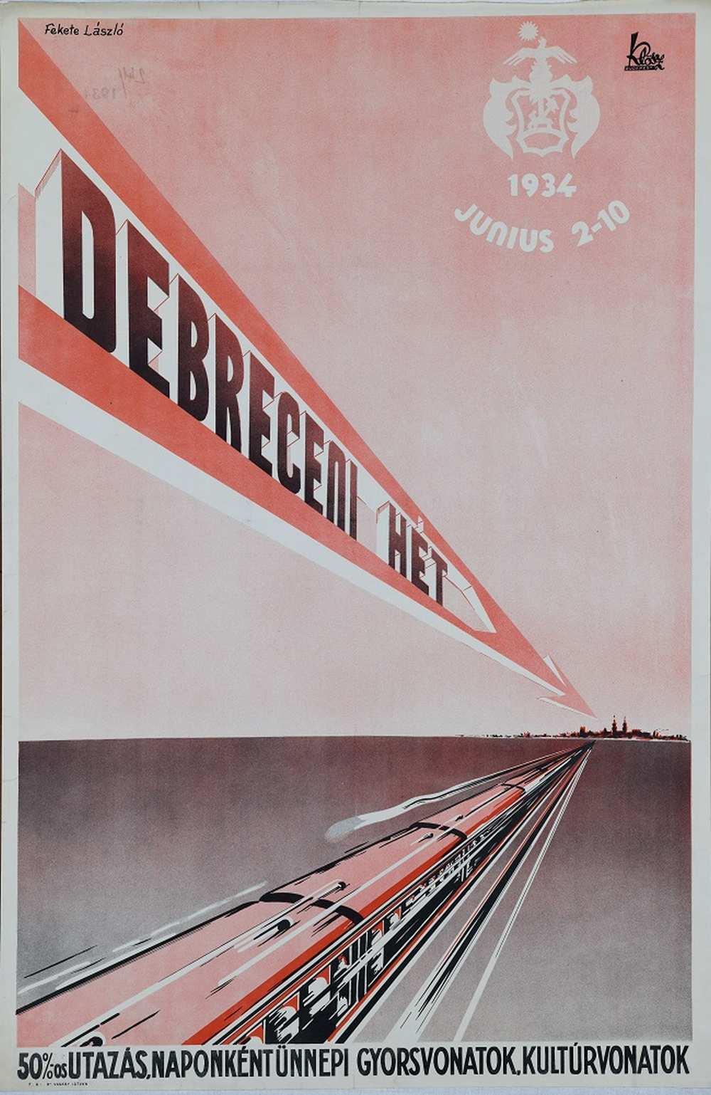Fekete László: Debreceni hét (1934). Jelzet: PKG.1934/241 – Térkép-, Plakát- és Kisnyomtatványtár http://nektar.oszk.hu/hu/manifestation/2800785