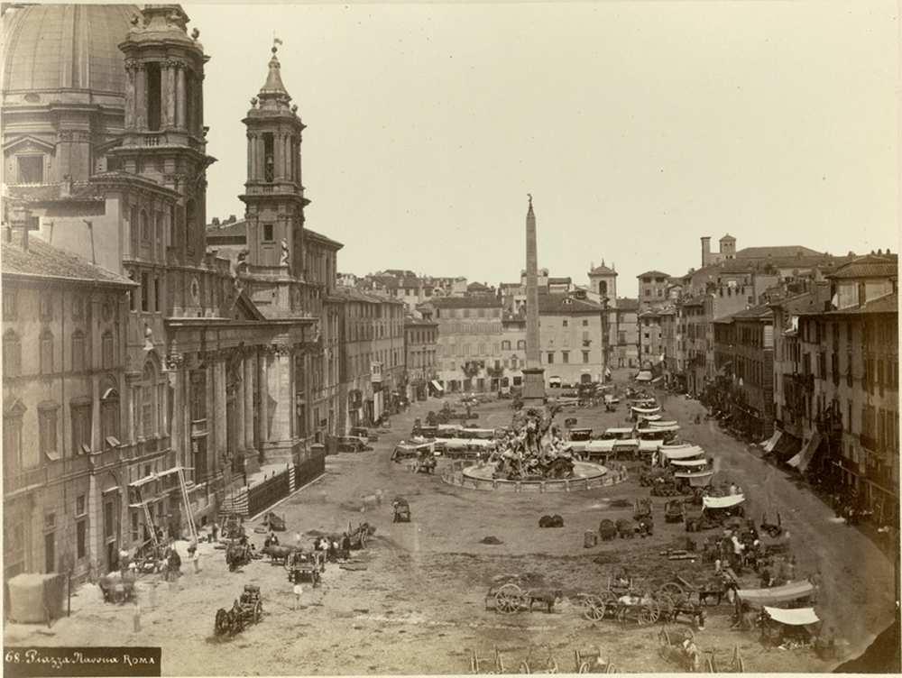 Gioacchino Altobelli: Piac a Piazza Navonán, 1860 körül, FTD 0329