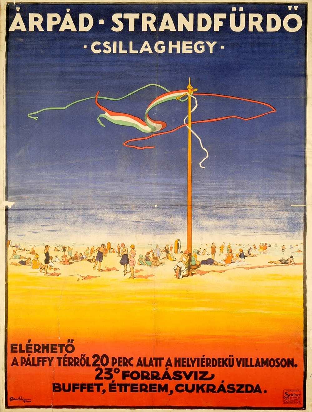 Bardócz Árpád: Árpád strandfürdő Csillaghegy (1921) – Térkép-, Plakát- és Kisnyomtatványtár. Jelzet: PKG.1921/13 http://nektar.oszk.hu/hu/manifestation/2776670