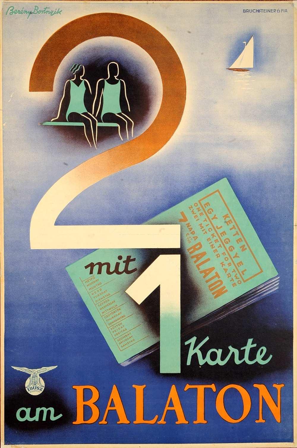 Berény Róbert: 2 mit 1 Karte am Balaton (1931). Jelzet: PKG.1931/135 – Térkép-, Plakát- és Kisnyomtatványtár http://nektar.oszk.hu/hu/manifestation/2792220