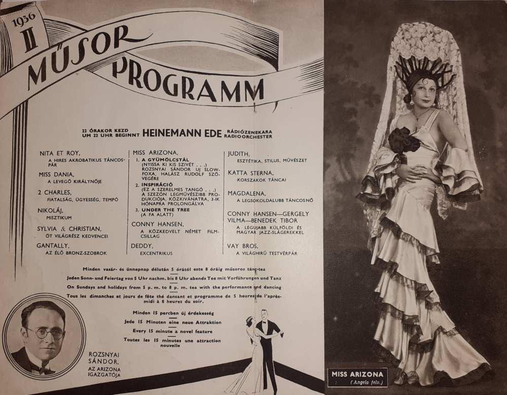 Az Arizona Csodabár műsora, 1936. február. Műsorfüzet. Aprónyomtatvány – Színháztörténeti és Zeneműtár