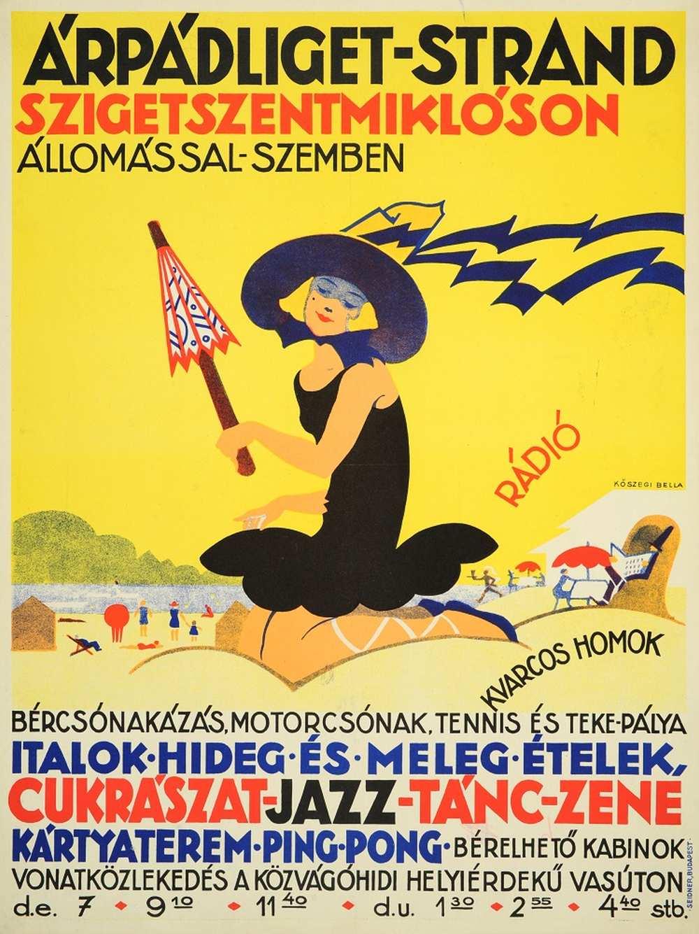 Kőszegi Bella: Árpádliget-strand Szigetszentmiklóson (1928) – Térkép-, Plakát- és Kisnyomtatványtár. Jelzet: PKG.1928/228 http://nektar.oszk.hu/hu/manifestation/2787219
