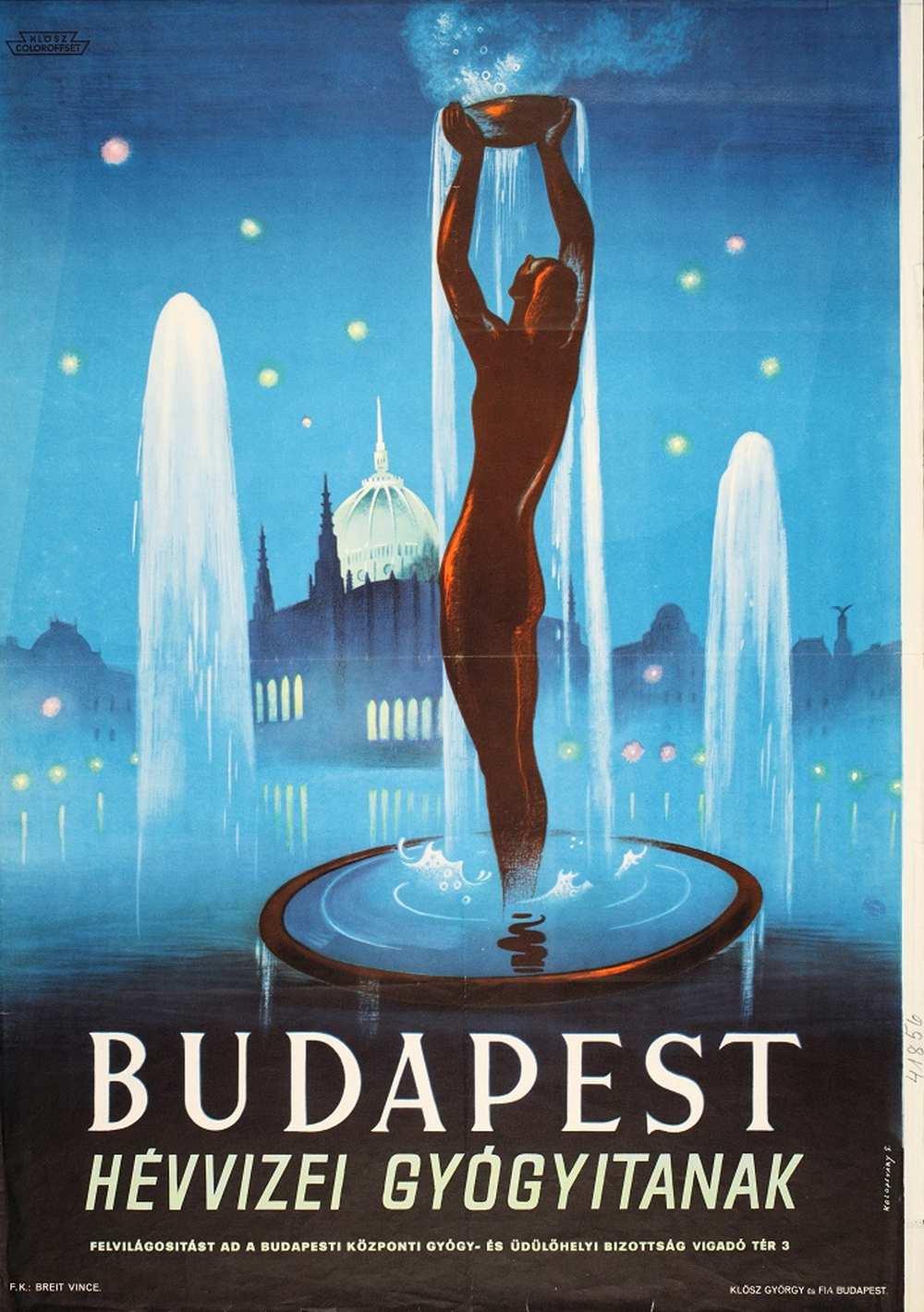 Kolozsváry Sándor: Budapest hévvizei gyógyítanak (1943). Jelzet: PKG.1943/152 – Térkép-, Plakát- és Kisnyomtatványtár http://nektar.oszk.hu/hu/manifestation/2930905