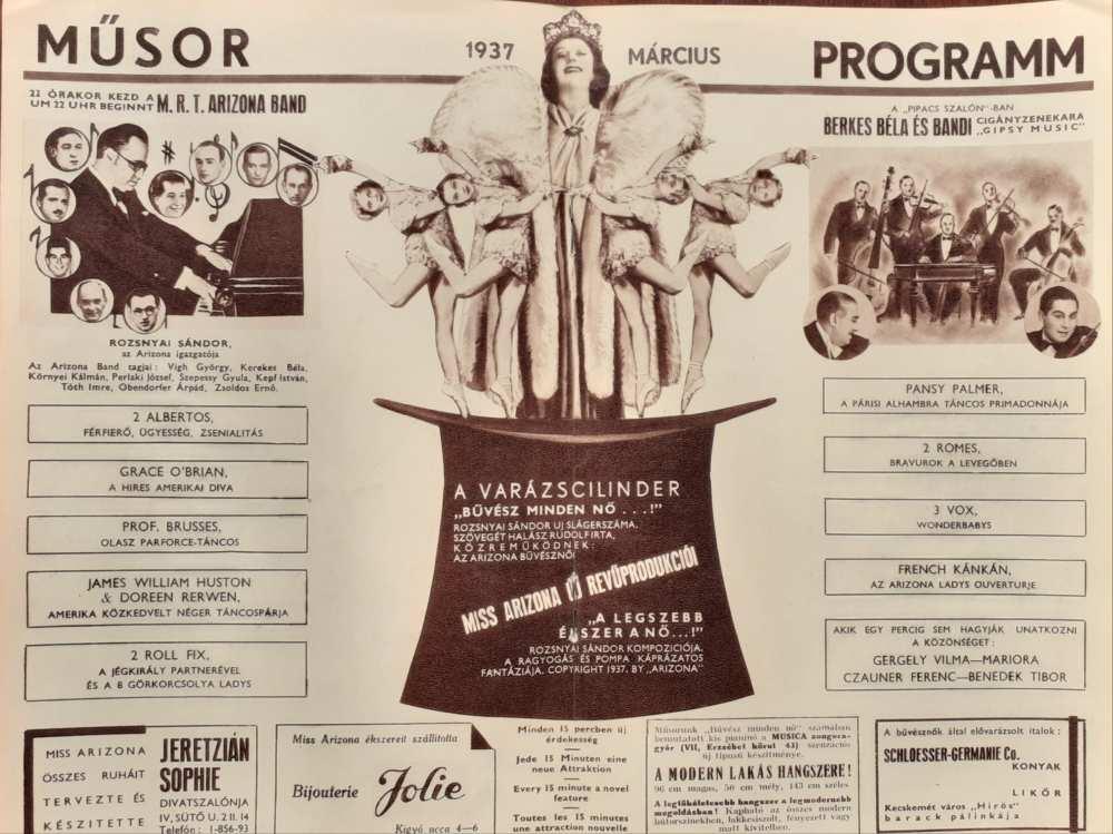 Az Arizona Csodabár műsora, 1937. március. Műsorfüzet. Aprónyomtatvány – Színháztörténeti és Zeneműtár