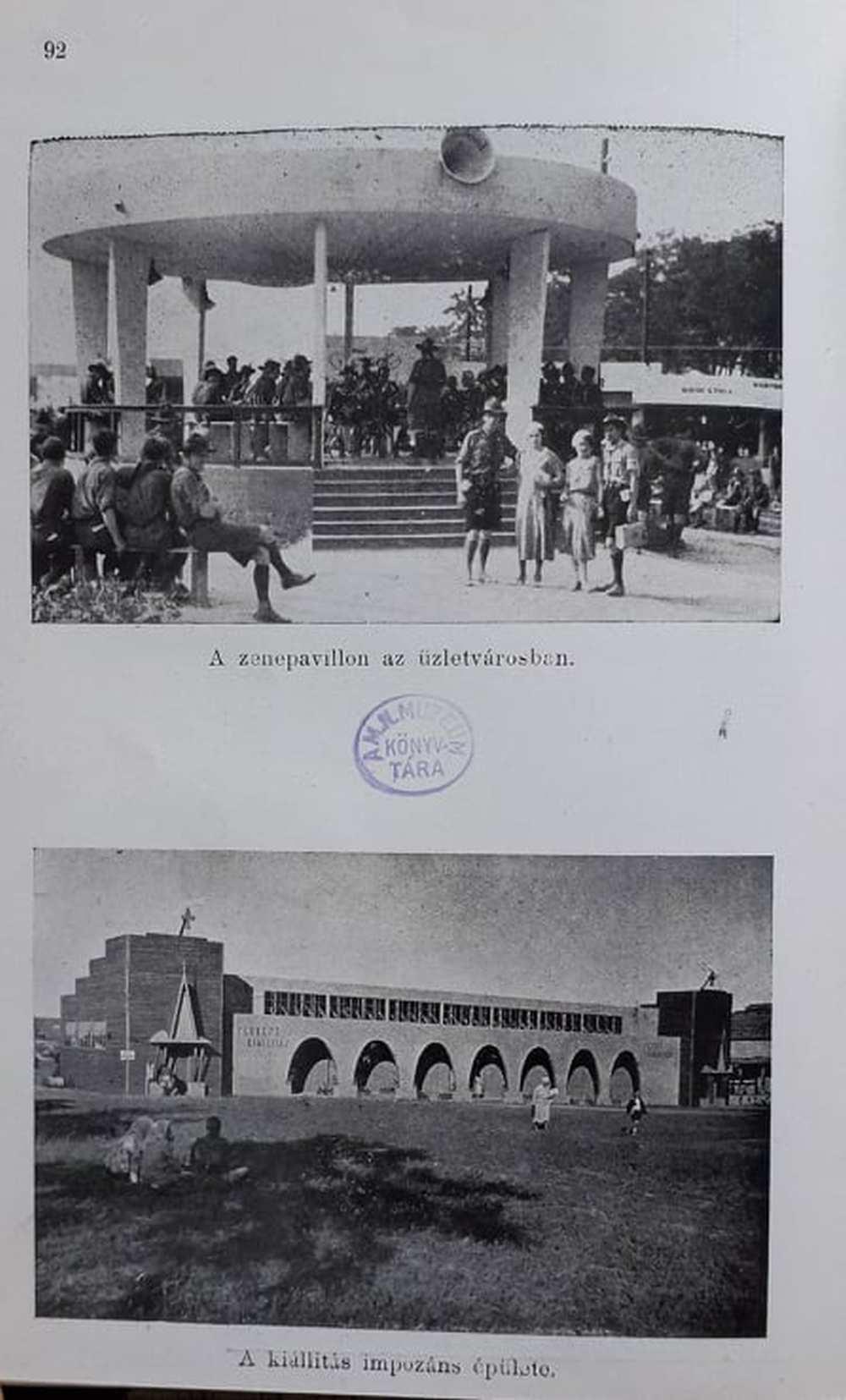A zenepavilon és a kiállítási épület. In. Jamboree különlegességek, szerk.: Windhaber Alajos, Budapest, 1934, 92. – Törzsgyűjtemény http://nektar.oszk.hu/hu/manifestation/2968792
