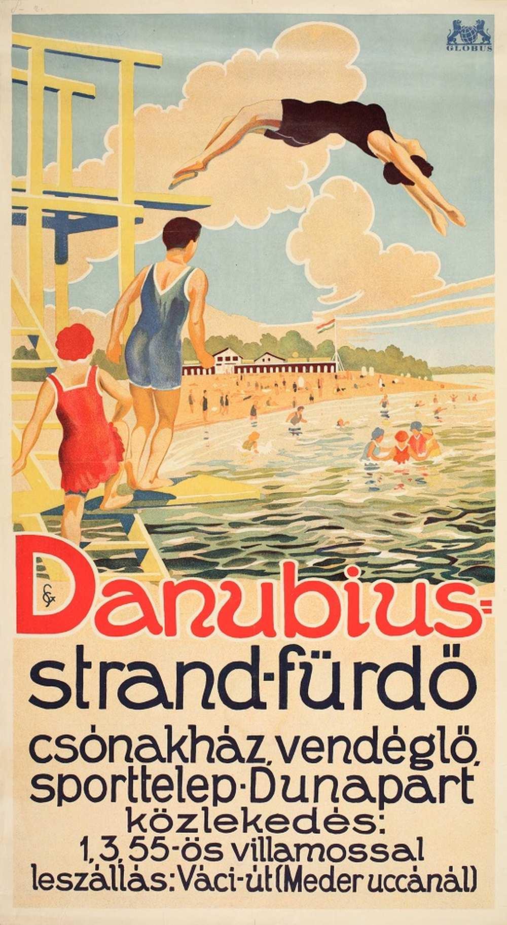 Danubius strand-fürdő (1930) – Térkép-, Plakát- és Kisnyomtatványtár. Jelzet: PKG.1930/73 http://nektar.oszk.hu/hu/manifestation/2774324