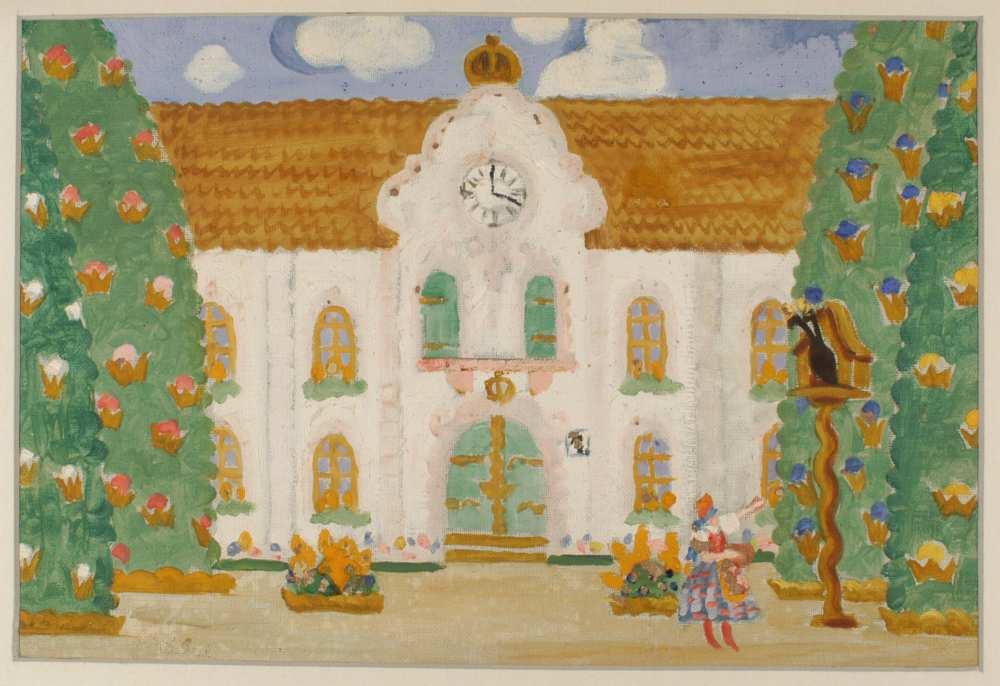 Kodály Zoltán: Háry János. A II. kaland díszlete (A Burg udvara). Oláh Gusztáv terve, 1926. Jelzet: KE 87 – Színháztörténeti és Zeneműtár
