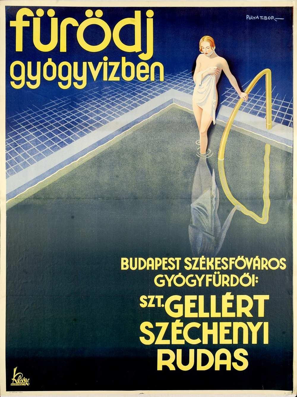 Pólya Tibor: Fürödj gyógyvízben (1932) – Térkép-, Plakát- és Kisnyomtatványtár. Jelzet: PKG.én/95 http://nektar.oszk.hu/hu/manifestation/2768796