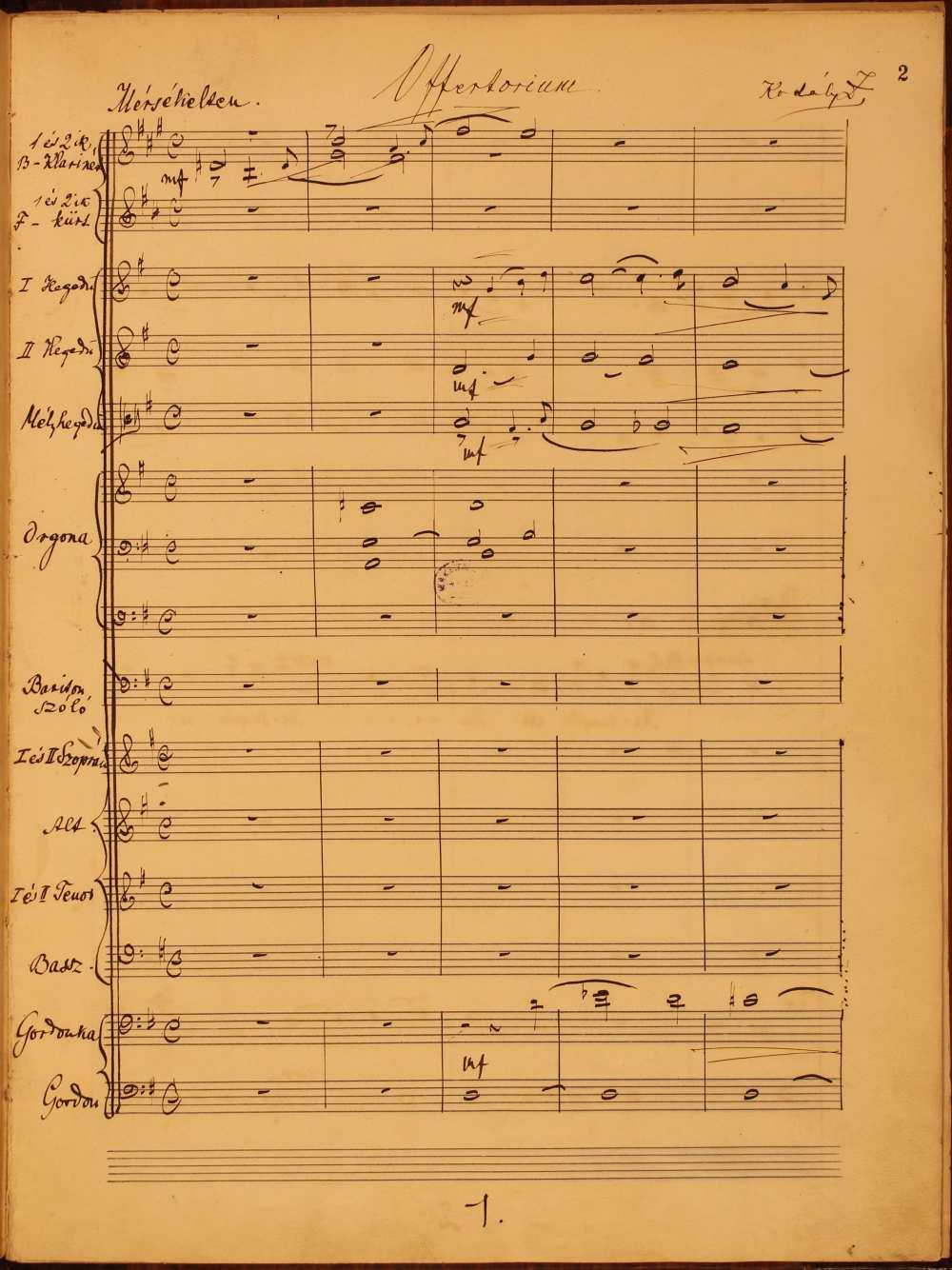 Kodály Zoltán: Offertórim (Assumpta est maria…). Baritonszóló, vegyeskar, és zenekar. Szerzői autográf. A kompozíció befejezési dátuma: 1901. július 24. – Zeneműtár, Ms. mus. 1000