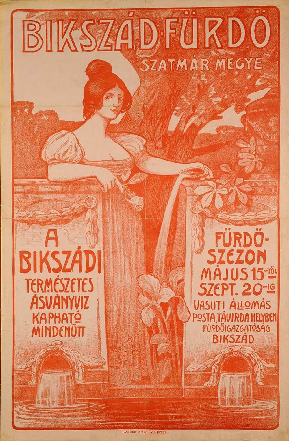 Bikszád fürdő – Térkép-, Plakát- és Kisnyomtatványtár. Jelzet: PKG.1914e/31 http://nektar.oszk.hu/hu/manifestation/2770305