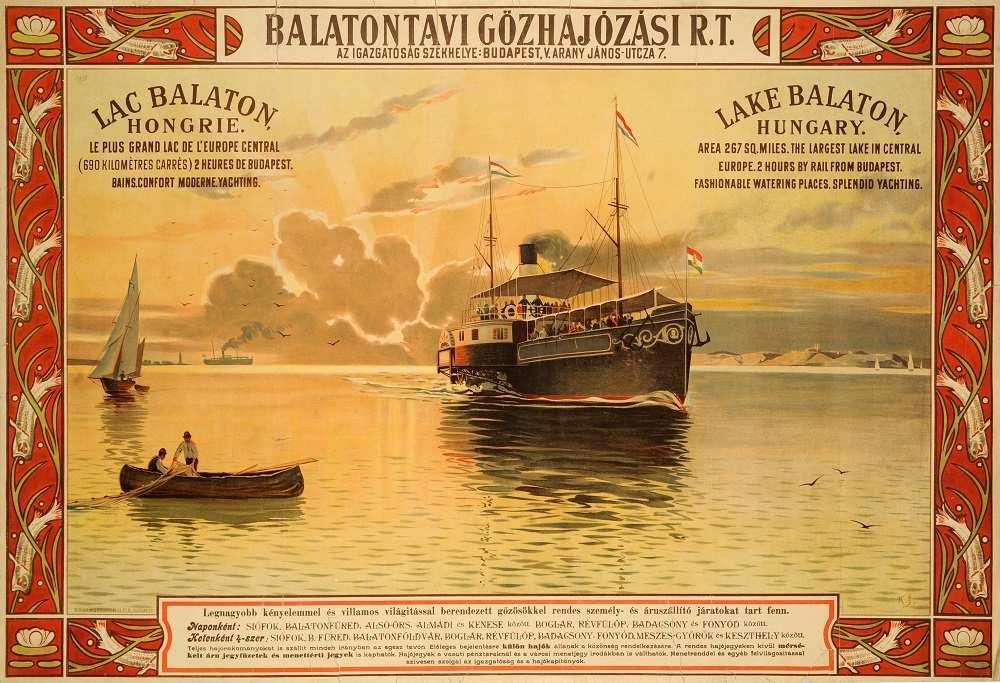 K. J.: Balatontavi Gőzhajózási Rt, (1910). Jelzet: PKG.1914e/599 – Térkép-, Plakát- és Kisnyomtatványtár http://nektar.oszk.hu/hu/manifestation/2772538