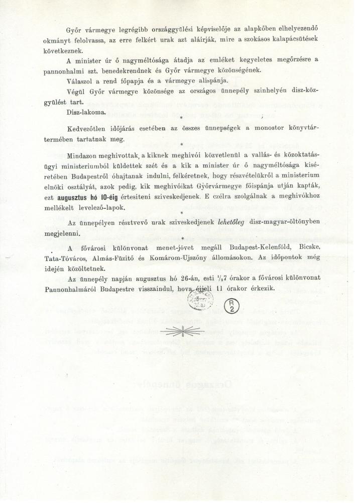 Tájékoztatás a Pannonhalmán felállítandó ezredévi emlékmű alapkövének 1896. évi augusztus hó 26-án leendő letétele alkalmából – Plakát- és Kisnyomtatványtár