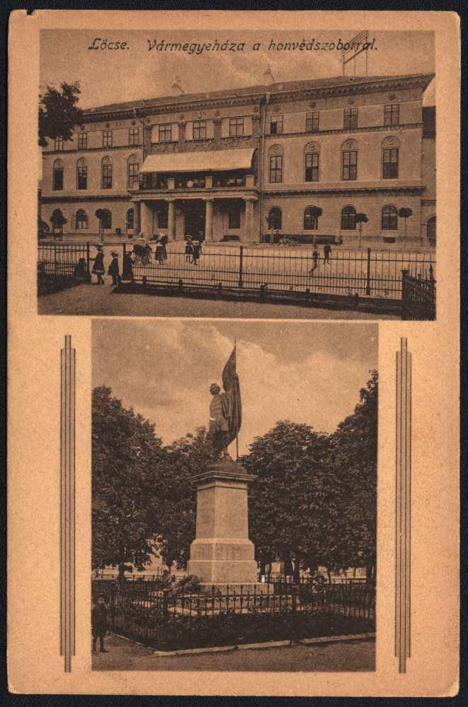 Lőcse, Megyeháza és Honvéd szobor. Képeslap Jelzet: L 563. – Plakát- és Kisnyomtatványtár