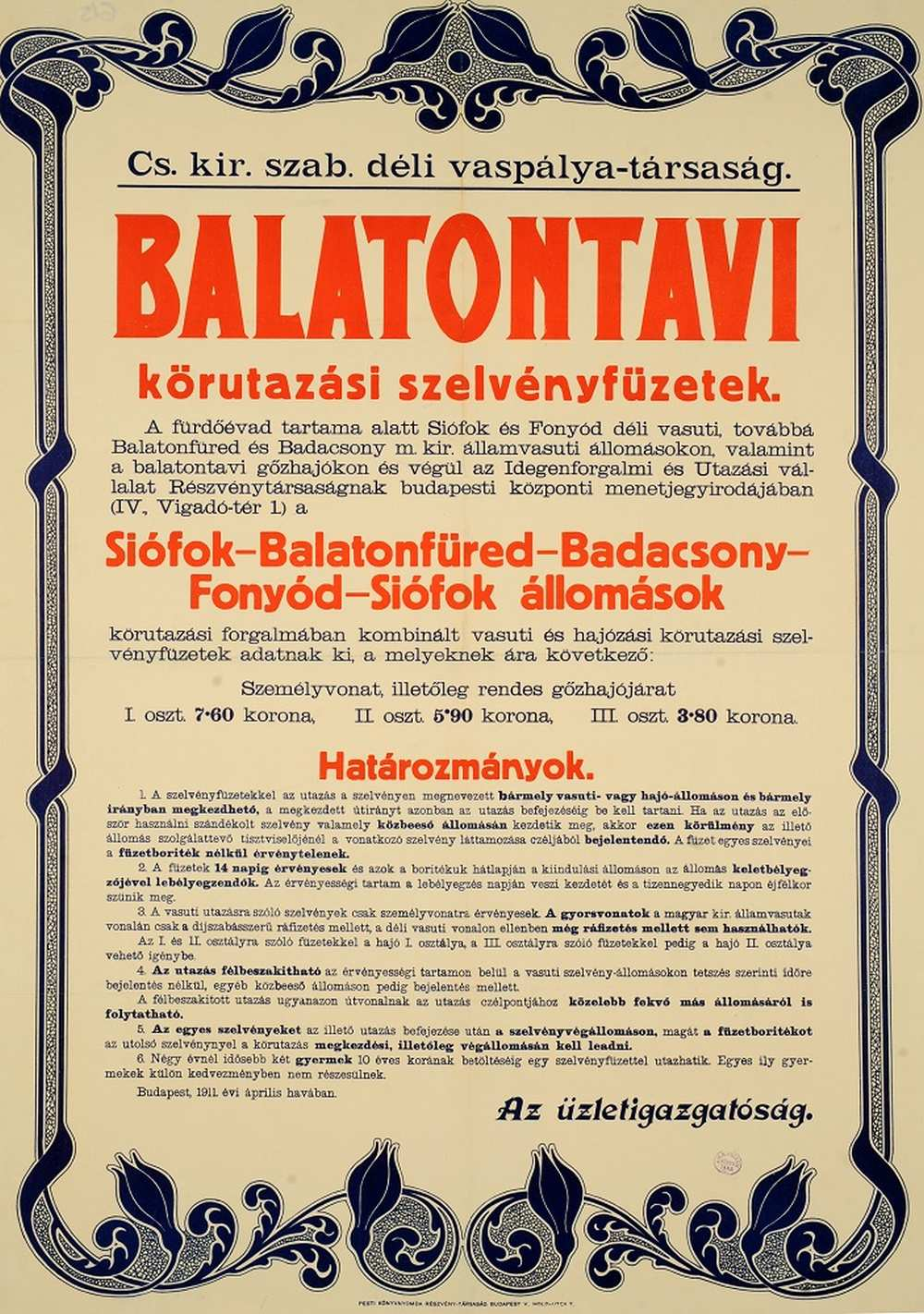 Balatontavi körutazási szelvényfüzetek (1911). Jelzet: PKG.1914e/615 – Térkép-, Plakát- és Kisnyomtatványtár http://nektar.oszk.hu/hu/manifestation/2772573