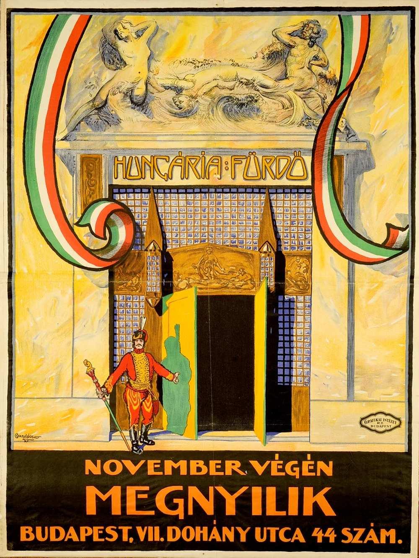 Bardócz Árpád: Hungária fürdő megnyílik (1921) – Térkép-, Plakát- és Kisnyomtatványtár. Jelzet: PKG.1921/33 http://nektar.oszk.hu/hu/manifestation/2776719