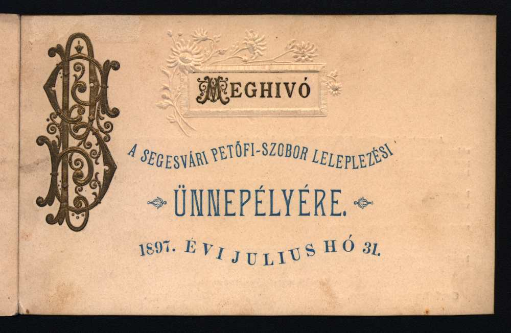 Meghívó a segesvári Petőfi-szobor leleplezési ünnepélyére – Plakát- és Kisnyomtatványtár, KnyB 875.