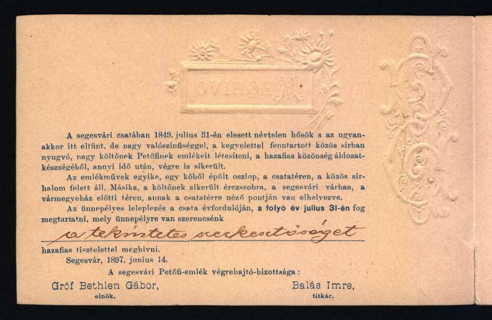 Meghívó a segesvári Petőfi-szobor leleplezési ünnepélyére – Térkép-, Plakát- és Kisnyomtatványtár, KnyB 875.