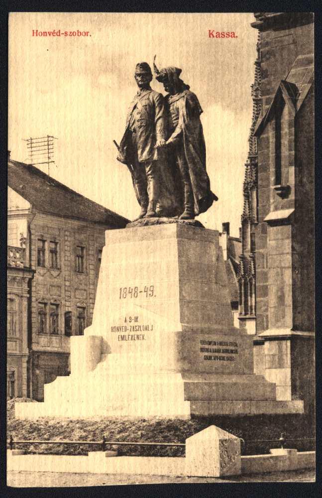 Kassa. Honvéd-szobor. Képeslap – Plakát- és Kisnyomtatványtár