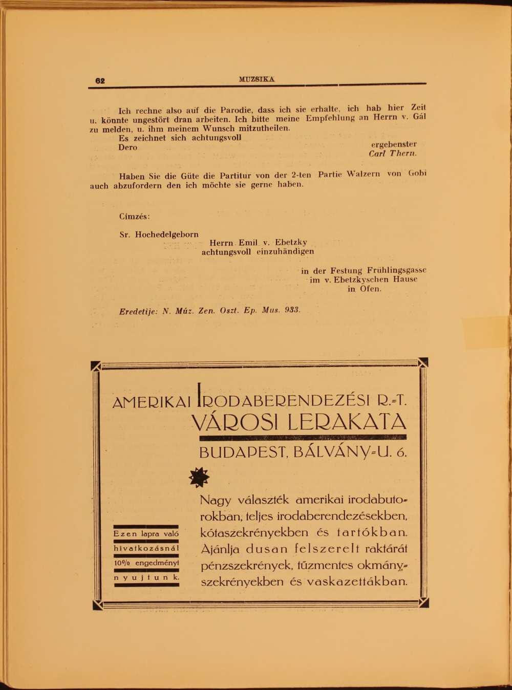 """Bognár Ignác és Thern Károly egy-egy levele (""""Szemelvények a zenei osztály levelestárából"""" című rovat). Befejezés. In. Muzsika. Zeneművészeti, zenetudományi és zenekritikai folyóirat, 1. évf. 1–2. sz. (1929. febr.–márc.) – Törzsgyűjtemény http://nektar.oszk.hu/hu/manifestation/1023575"""