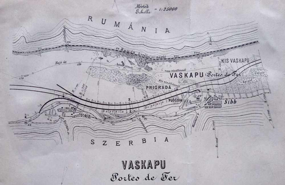 A kivágaton jól láthatóak a zátonyok és kis szigetek, valamint a leendő hajóút vonala is. – Térkép-, Plakát- és Kisnyomtatványtár, részlet. Jelzet: TM 4.374