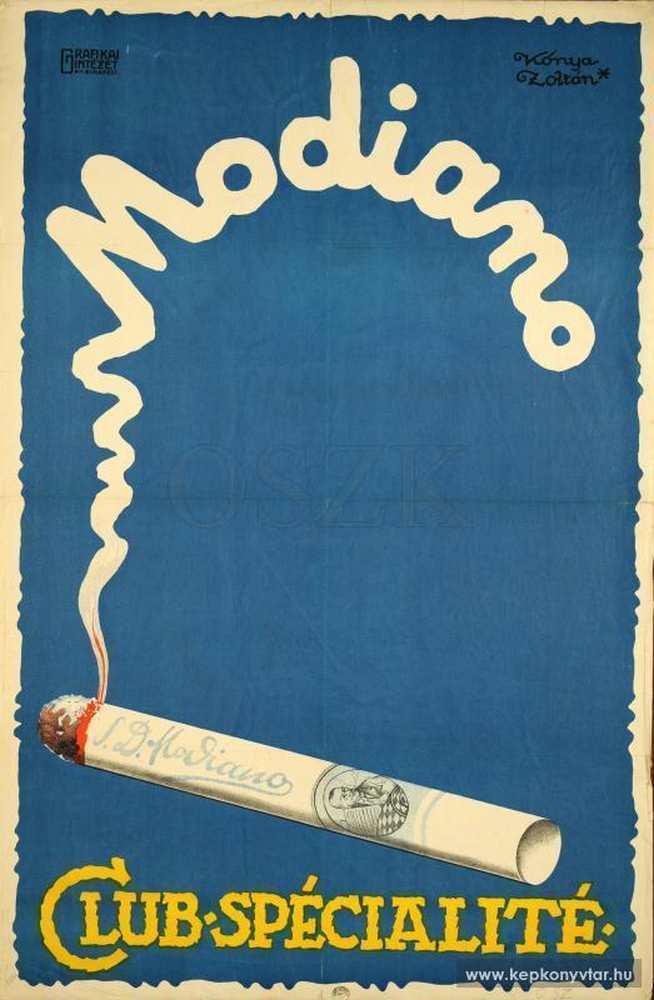 Modiano. Grafikus: Kónya Zoltán. Jelzet. PKG.1926/230 – Plakát- és Kisnyomtatványtár; Magyar Digitális Képkönyvtár http://www.kepkonyvtar.hu/?docId=83916
