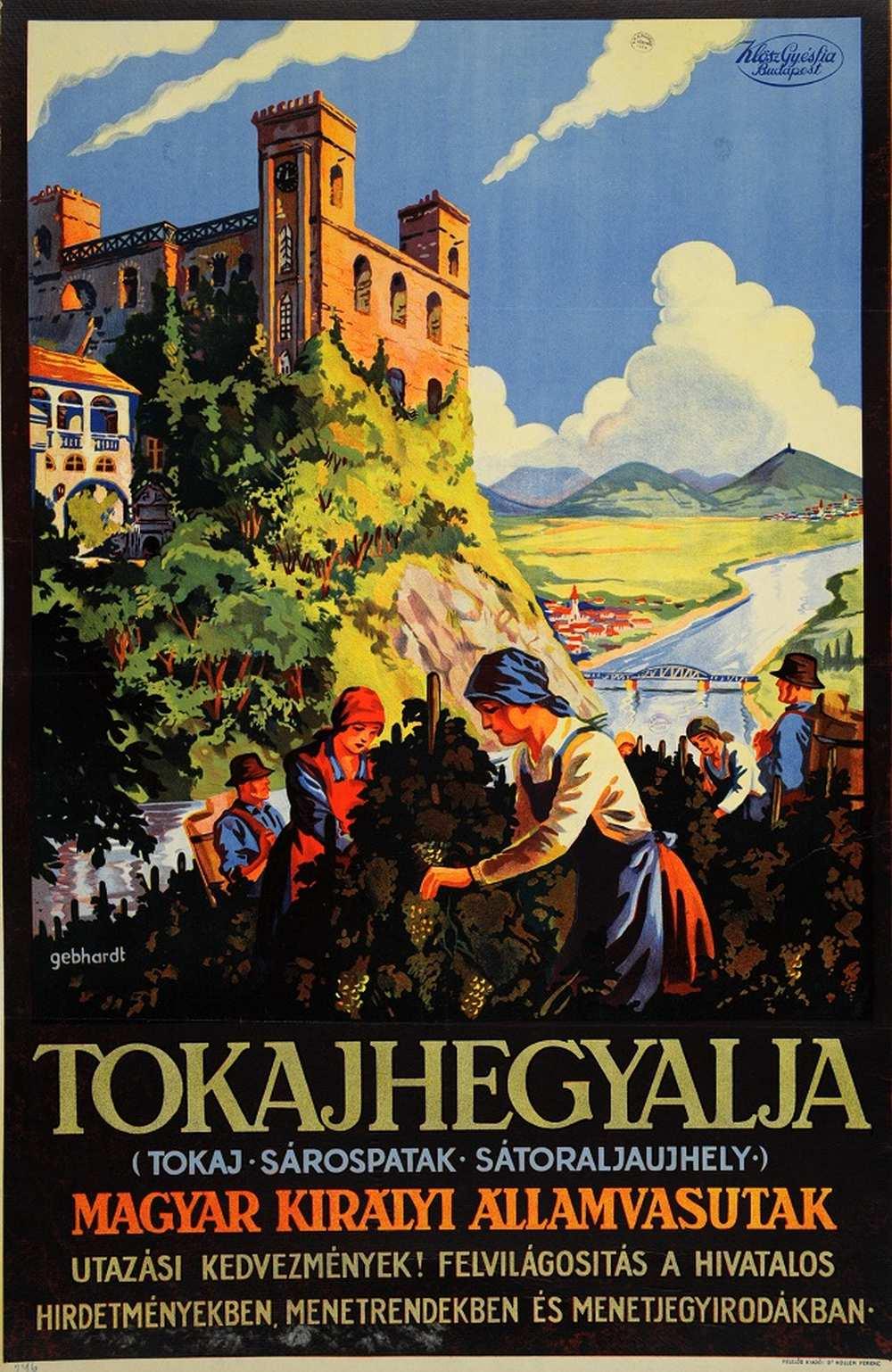 Gönczi Gebhardt Tibor: Tokajhegyalja (Tokaj Sárospatak Sátoraljaújhely) (1927). Jelzet: PKG.1927/192 – Térkép-, Plakát- és Kisnyomtatványtár http://nektar.oszk.hu/hu/manifestation/2867806