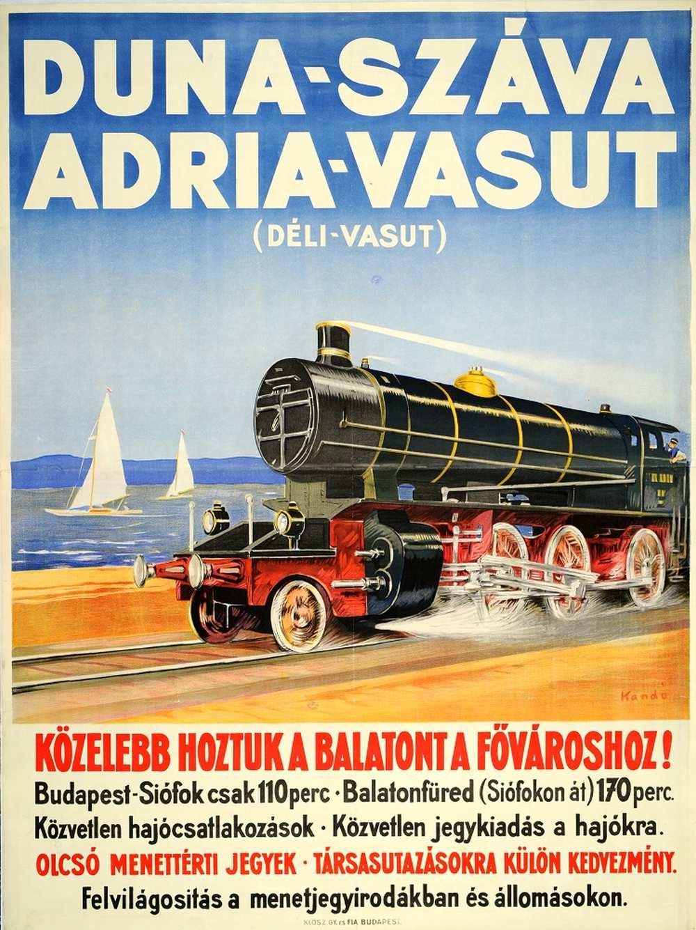Kandó Gyula: Duna-Száva-Adria Vasút (1929). Jelzet: PKG.1929/210 – Térkép-, Plakát- és Kisnyomtatványtár