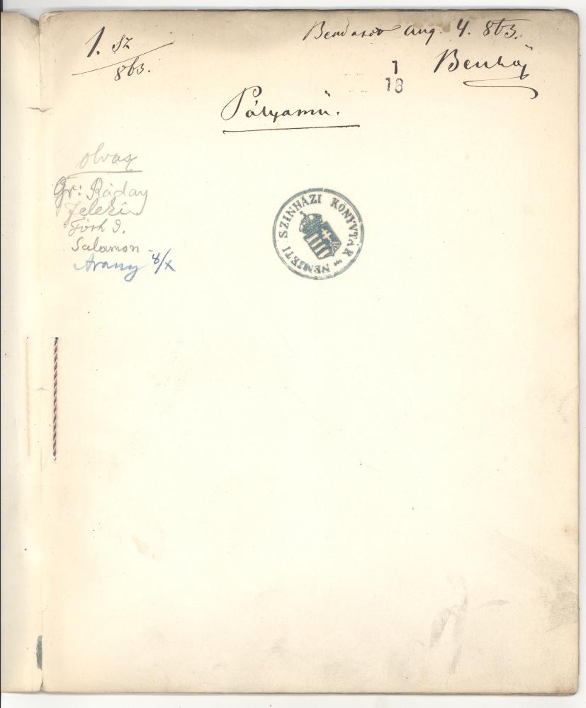 Arany bejegyzése az Ingyenjegy című vígjátékon – Színháztörténeti Tár