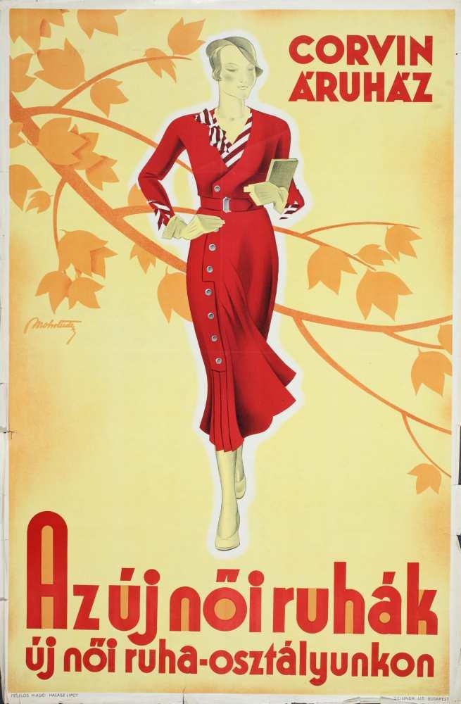 Az új női ruhák új női ruha-osztályunkon. Grafikus: Mohrlüder Vilmos. Jelzet: PKG.1931/208 – Plakát- és Kisnyomtatványtár