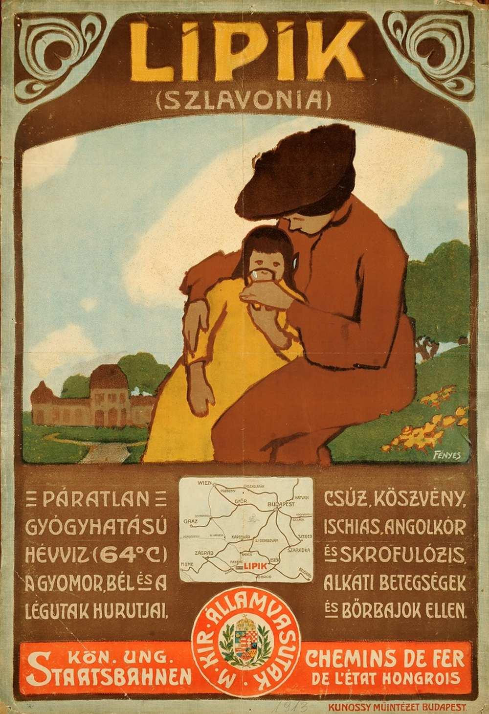Fényes Adolf: Lipik (1906) – Térkép-, Plakát- és Kisnyomtatványtár. Jelzet: PKG.1914e/97 http://nektar.oszk.hu/hu/manifestation/2770590