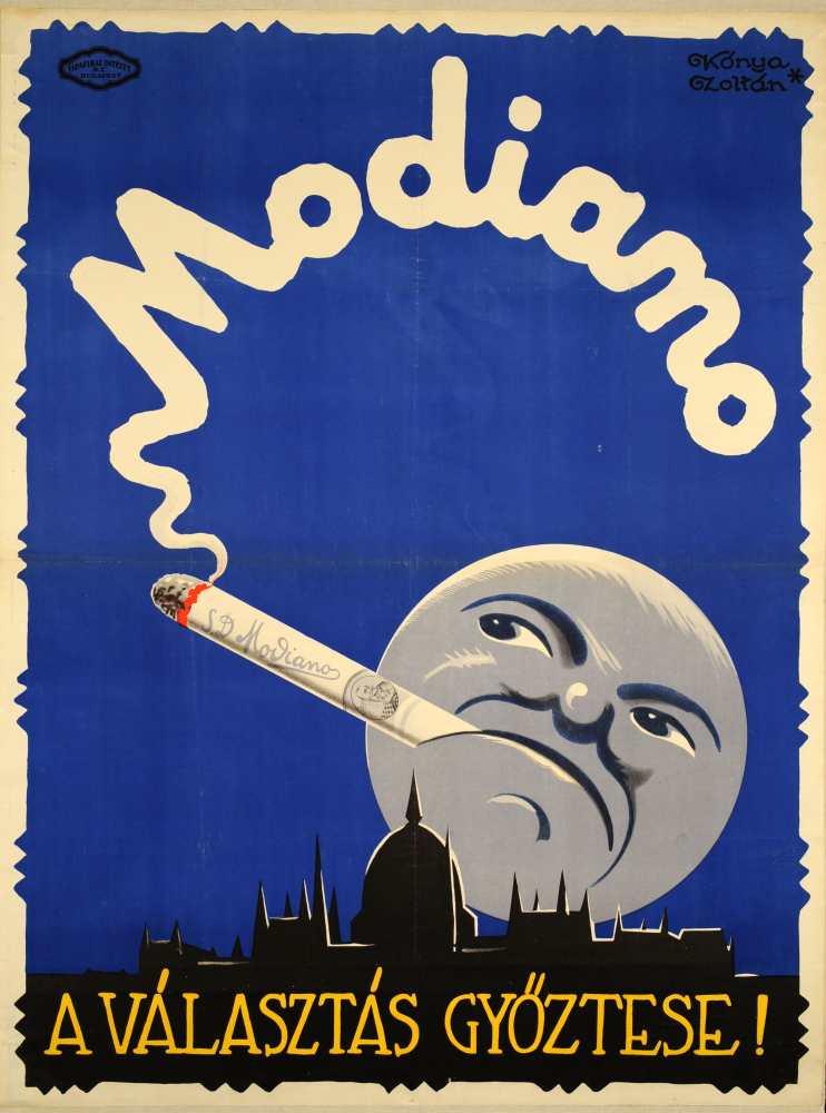 Modiano a választás győztese! Grafikus: Kónya Zoltán. Jelzet: PKG.1926/231 – Plakát- és Kisnyomtatványtár; Magyar Digitális Képkönyvtár http://www.kepkonyvtar.hu/?docId=83948