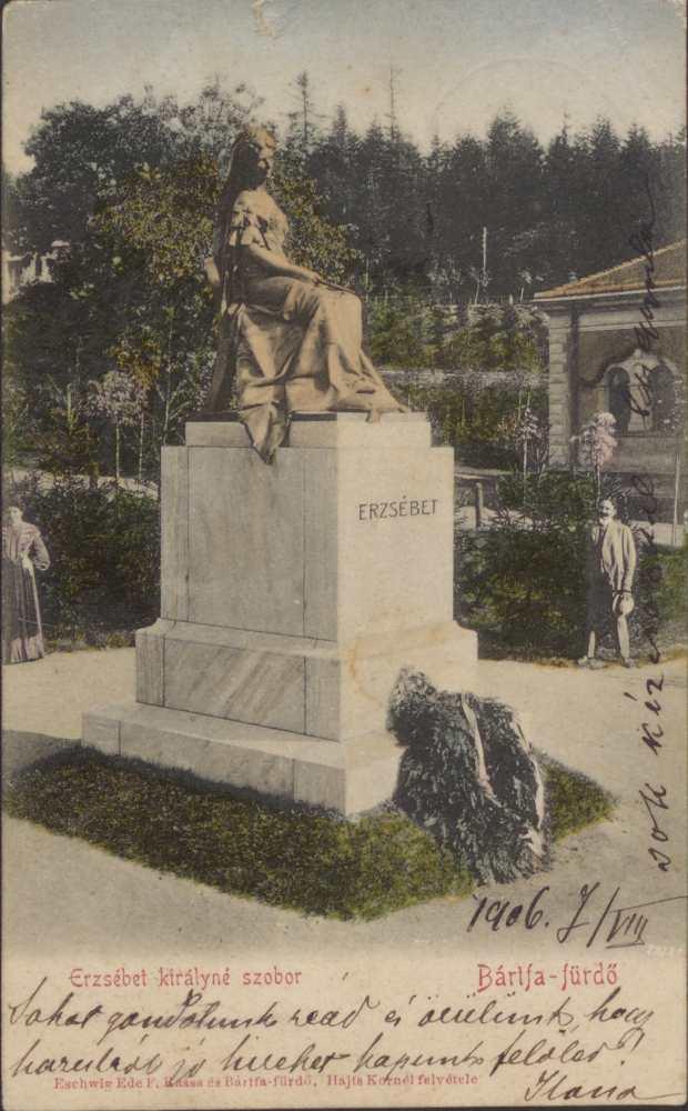 Erzsébet királyné szobra Bártfafürdőn. Képeslap – Térkép-, Plakát- és Kisnyomtatványtár. Jelzet: B 1899.